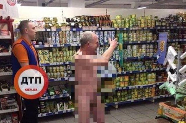На Крещение по киевскому супермаркету гулял обнаженный мужчина, фото-2