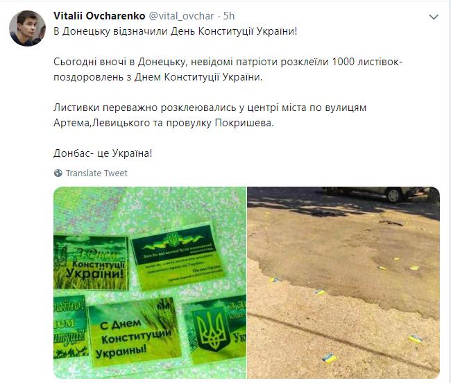 Украинские патриоты расклеили в Донецке листовки ко Дню Конституции, фото-2